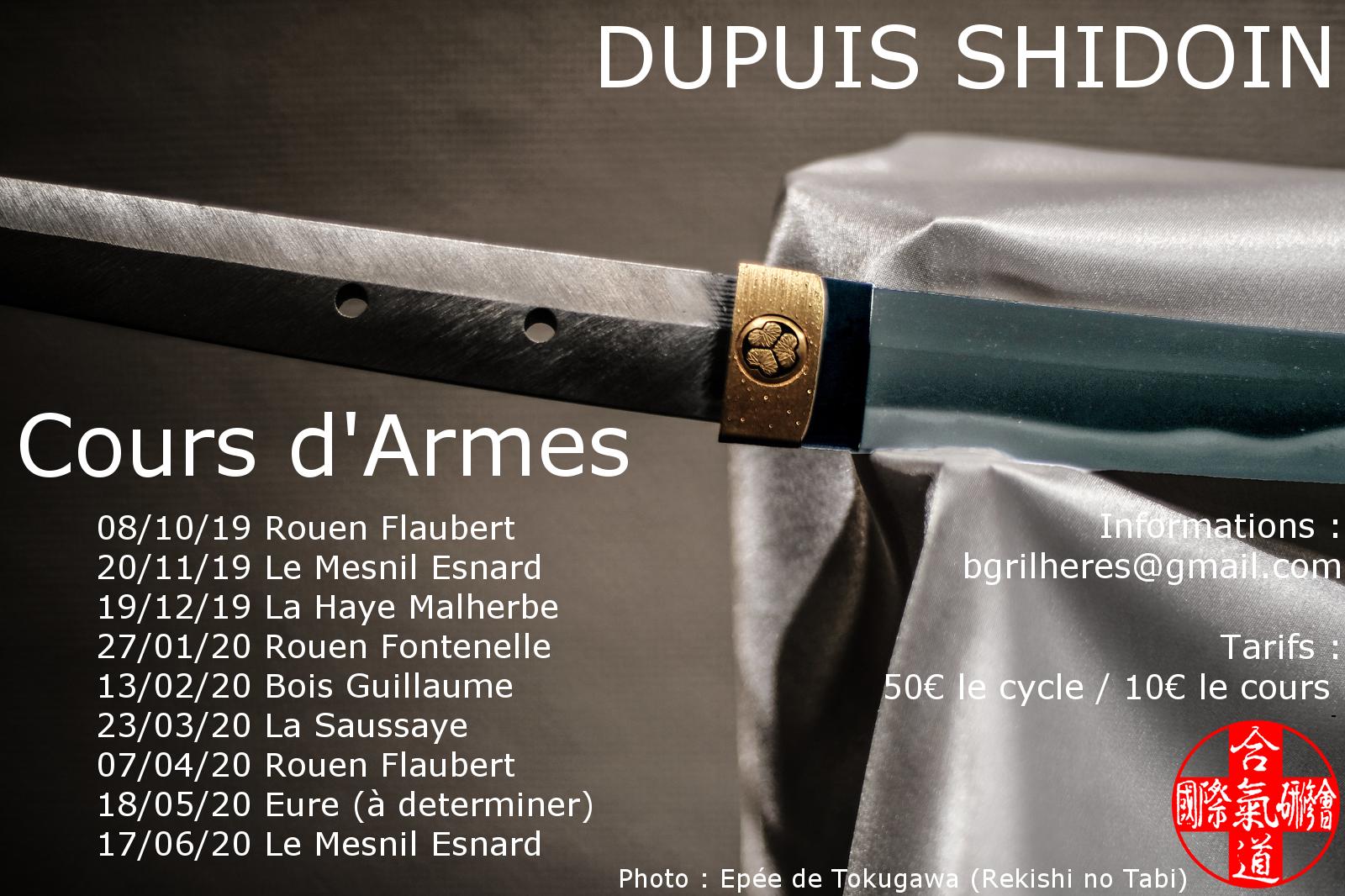 Cours d'armes mensuels dirigés par Dupuis Shidoin