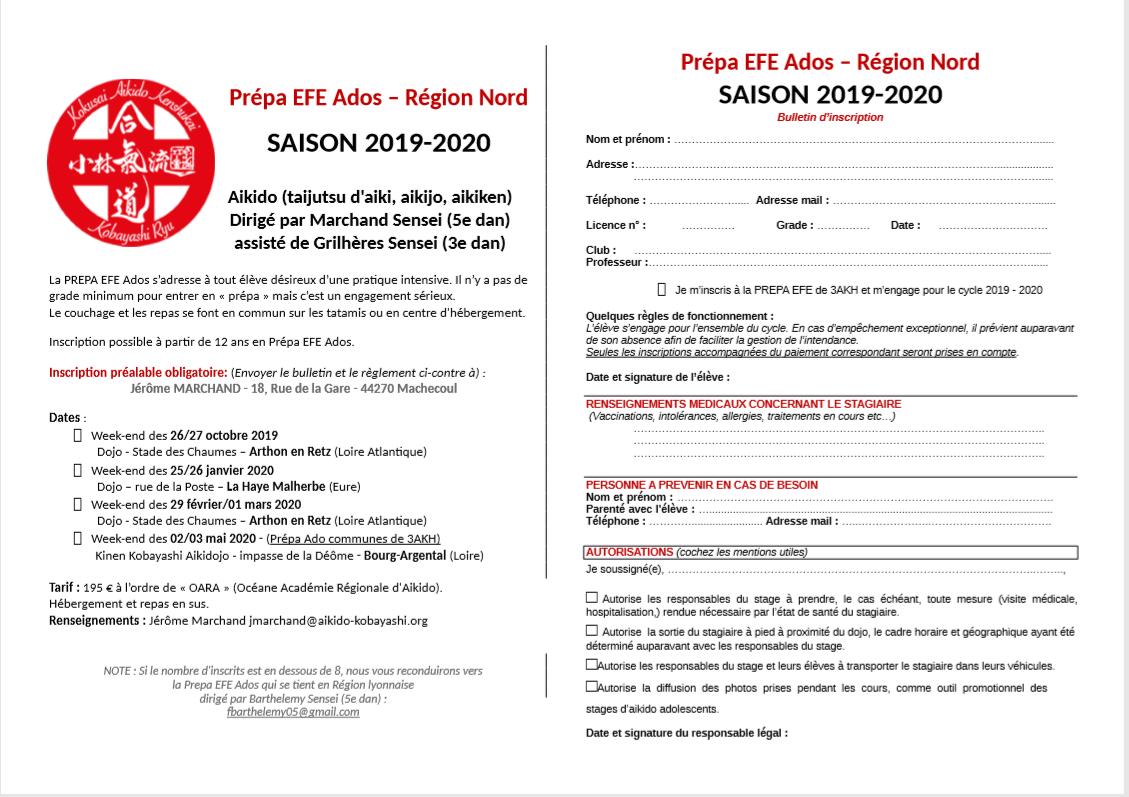 Prépa EFE Ados – Région Nord