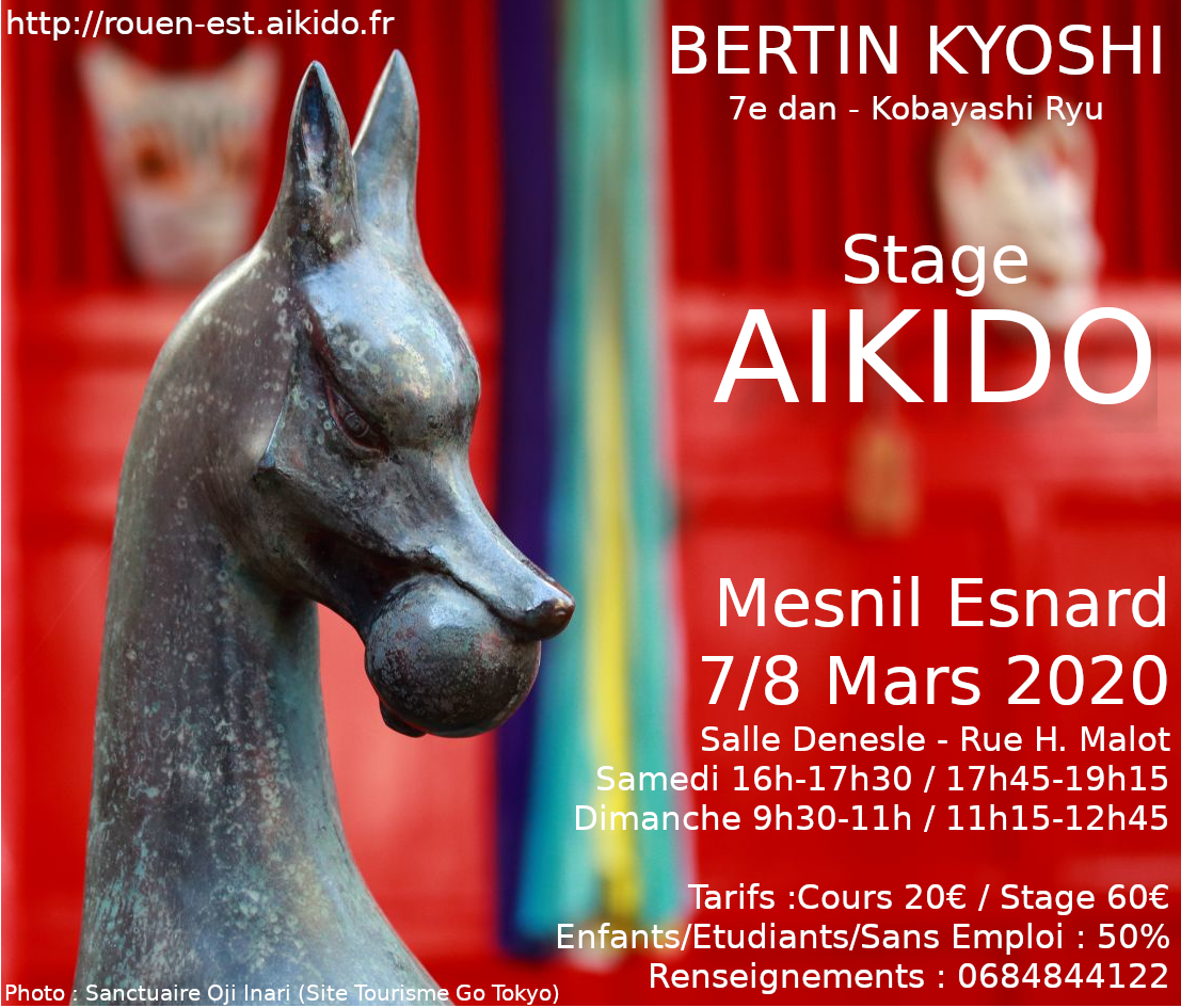 7/8 mars 2020 : Stage d'aïkido dirigé par Bertin Kyoshi